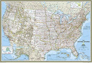 National Geographic: United States Classic Enlarged Wall Map – Laminated (69.25 x..