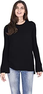 Cashmere Wool Sweater Crew Neck Oversized Pullover for Women in Thermal Stitch Knit