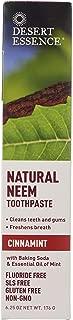Desert Essence Natural Neem Toothpaste - Cinnamint - 6.25 Oz - Pure Essential Oil - Baking Soda - Complete Oral Care - Sea Salt - Refreshing Taste - Promotes Buildup Reduction