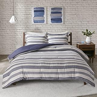 Urban Habitat Cole Stripe Print Ultra Soft Cotton Blend Jersey Knit Comforter Set Navy Full/Queen