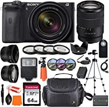 Sony Alpha a6600 Mirrorless Digital Camera with 18-135mm Lens + Wide-Angle & Telephoto Conversion Lens, 64GB Memory Card, ...