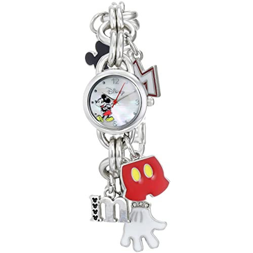 Amazon.com: Disney Womens MK2066 Mickey Mouse Charm Watch with Mother of Pearl Dial: Watches