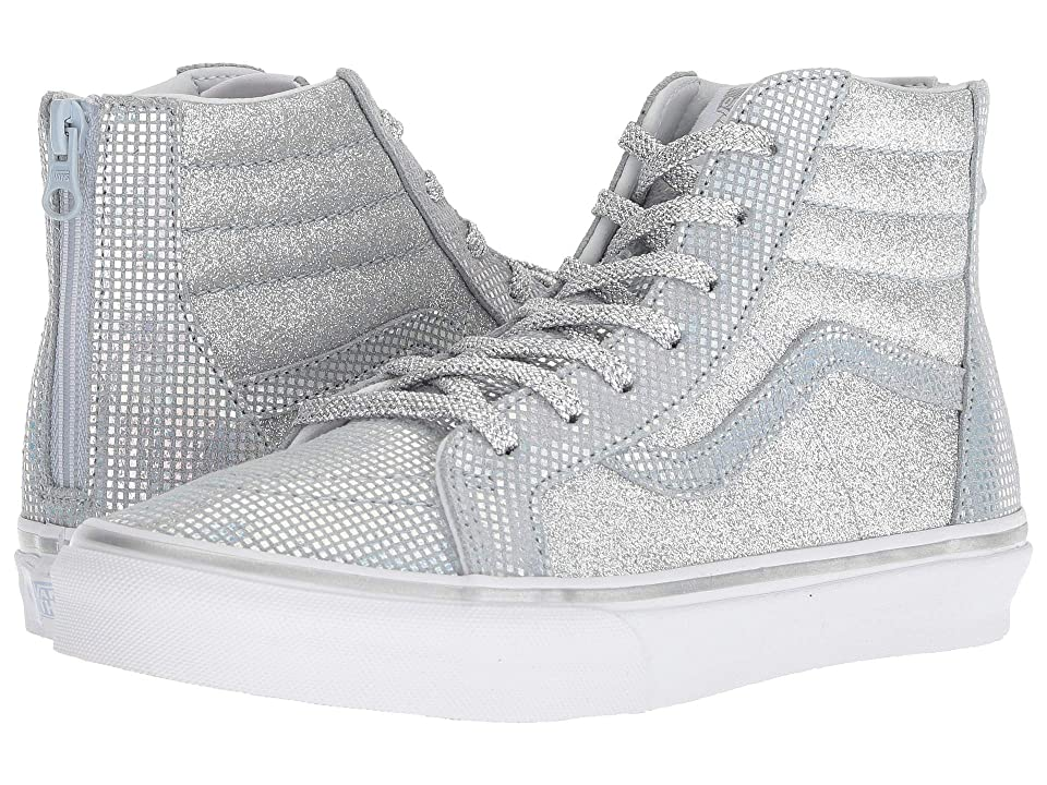 Vans Kids Sk8-Hi Zip (Little Kid/Big Kid) ((Metallic Glitter) Silver) Girls Shoes