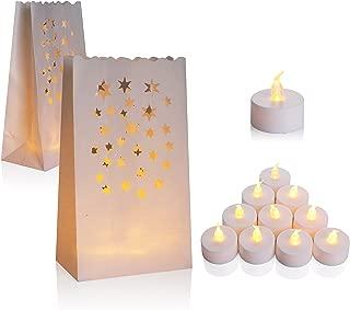 AceList 50 Set Luminaries Bag Candles Bags Flameless Tea Light for Wedding Party Event - Star