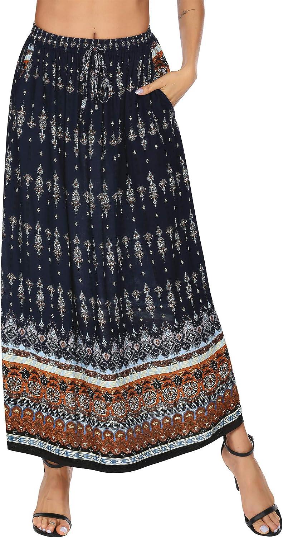 Parabler Women's Boho Linen Elastic Waist Maxi Skirt Blue Large Elastic Waist L