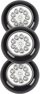 Light It! By Fulcrum, LED Wireless Mini Stick On Touch Light, 3 Pack, Black