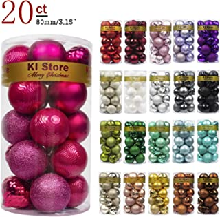 KI Store 20ct Christmas Balls Hot Pink Shatterproof Christmas Tree Ball Ornaments Decorations for Xmas Trees Wedding Party Home Decor 3.15-Inch Hooks Included