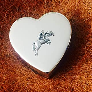 Really Useful Gifts Large Silver Plated Heart Shaped Trinket Pill Jewellery Gift Box with Antique Pewter Showjumping Equestrian Horse Show Jumper Emblem