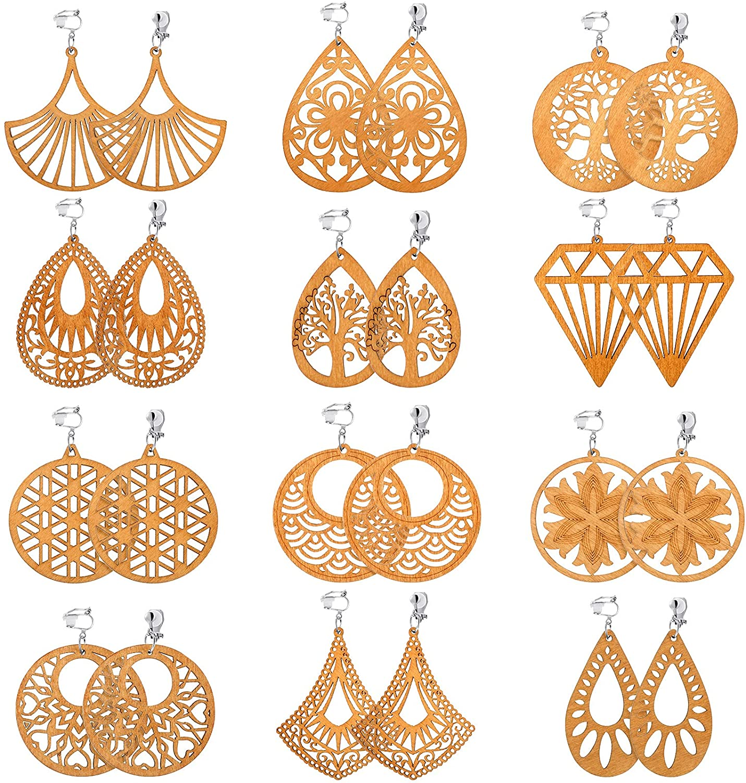 12 Pairs African Wooden Clip on Earrings Bohemian Pendant Dangle Clip-on Earrings Lightweight Non Piercing Earrings for Women