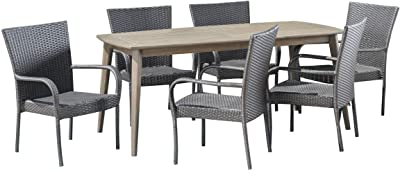 Christopher Knight Home 305173 Livio Outdoor 7 Piece Wood and Wicker Dining Set, Gray Finish/Gray
