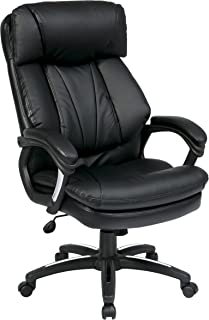 Office Star Oversized Faux Leather Executive Chair with Padded Loop Arms, Black