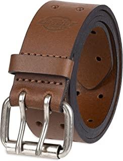 Dickies mens 1 3/8 in. Genuine Leather Belt Leather Double Prong Belt
