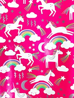 Magical Unicorns Rainbows Happy Birthday Party Celebration Hot Pink Gifting Gift Present Wrapping Paper 2.5' x 12'
