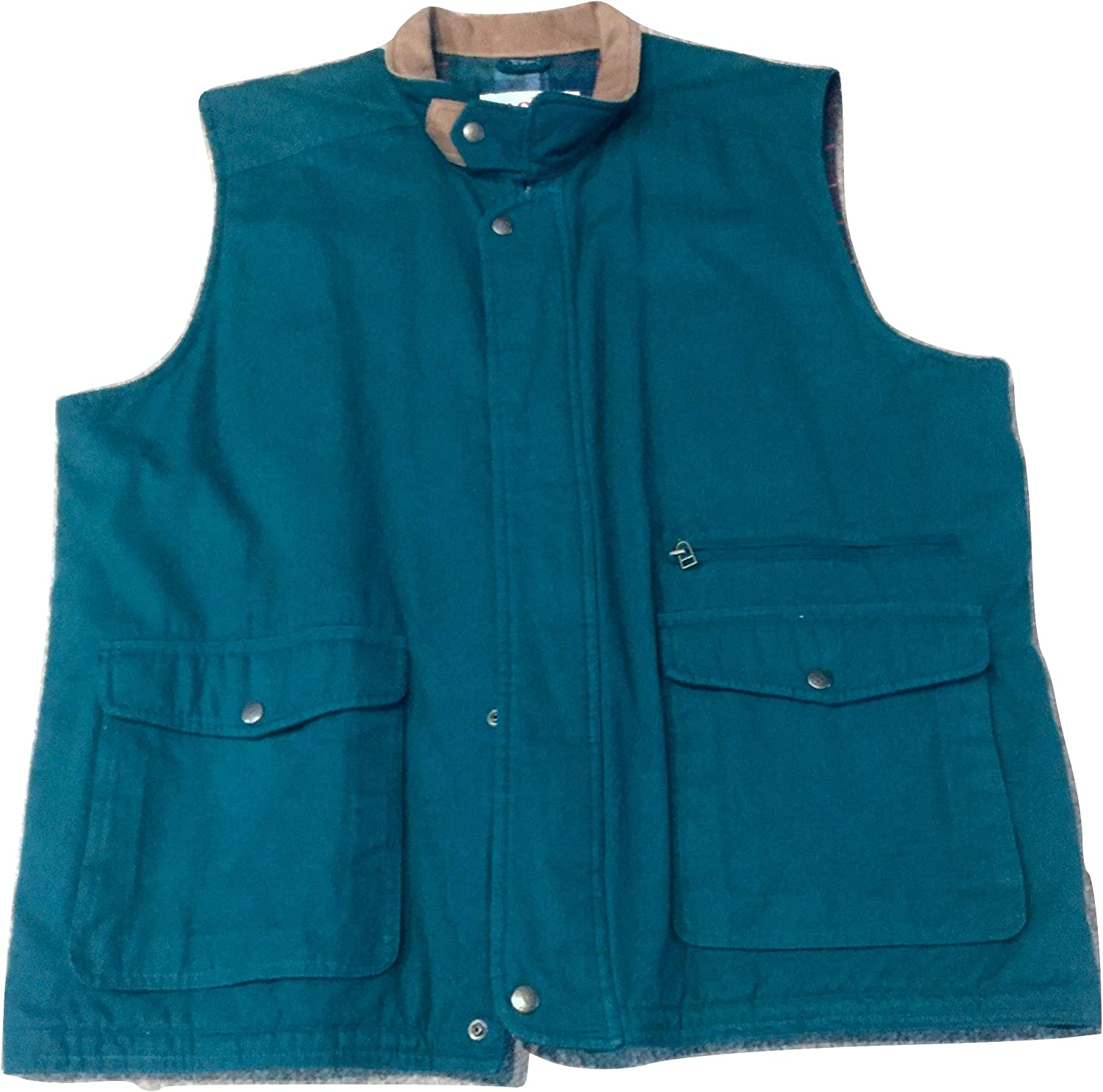 Pacific Trail Lined Canvas Vest with Leather Collar Outerwear Vest