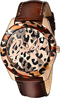 GUESS Women's U0455L3 Iconic Brown Animal Print Watch with Rose Gold-Tone Accents