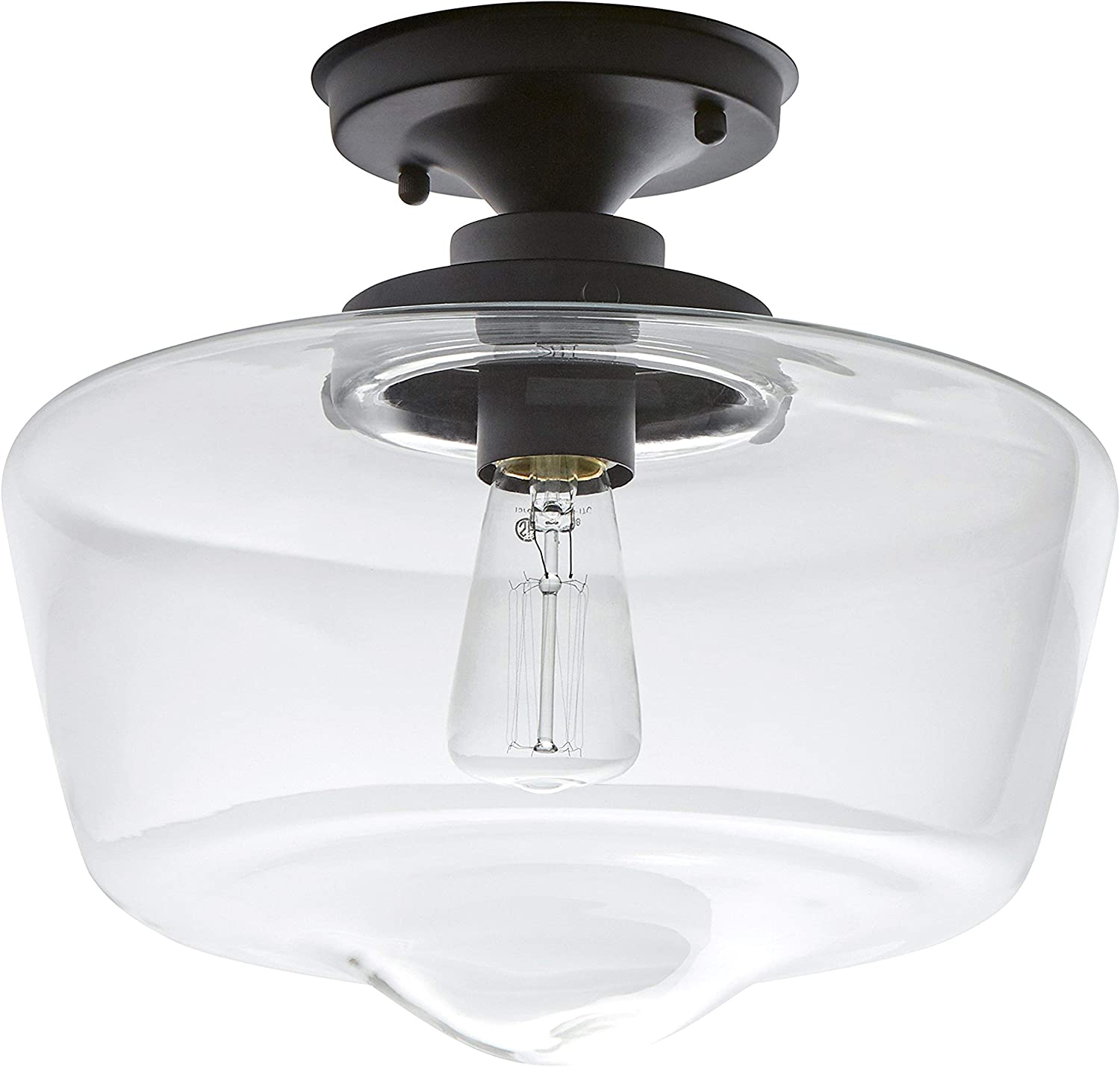 Stone & Beam Schoolhouse Semi-Flush Mount Ceiling Light, 10.5 H, With Bulb, Matte Black with Glass Shade