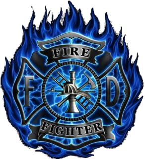 Firefighter Blue Flame Clock Widget