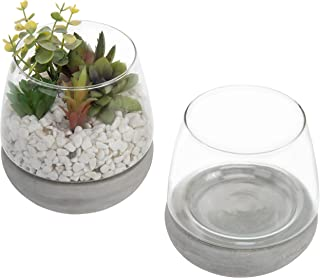 MyGift Modern Clear Glass 4-Inch Rounded Vases with Concrete Gray Base, Set of 2