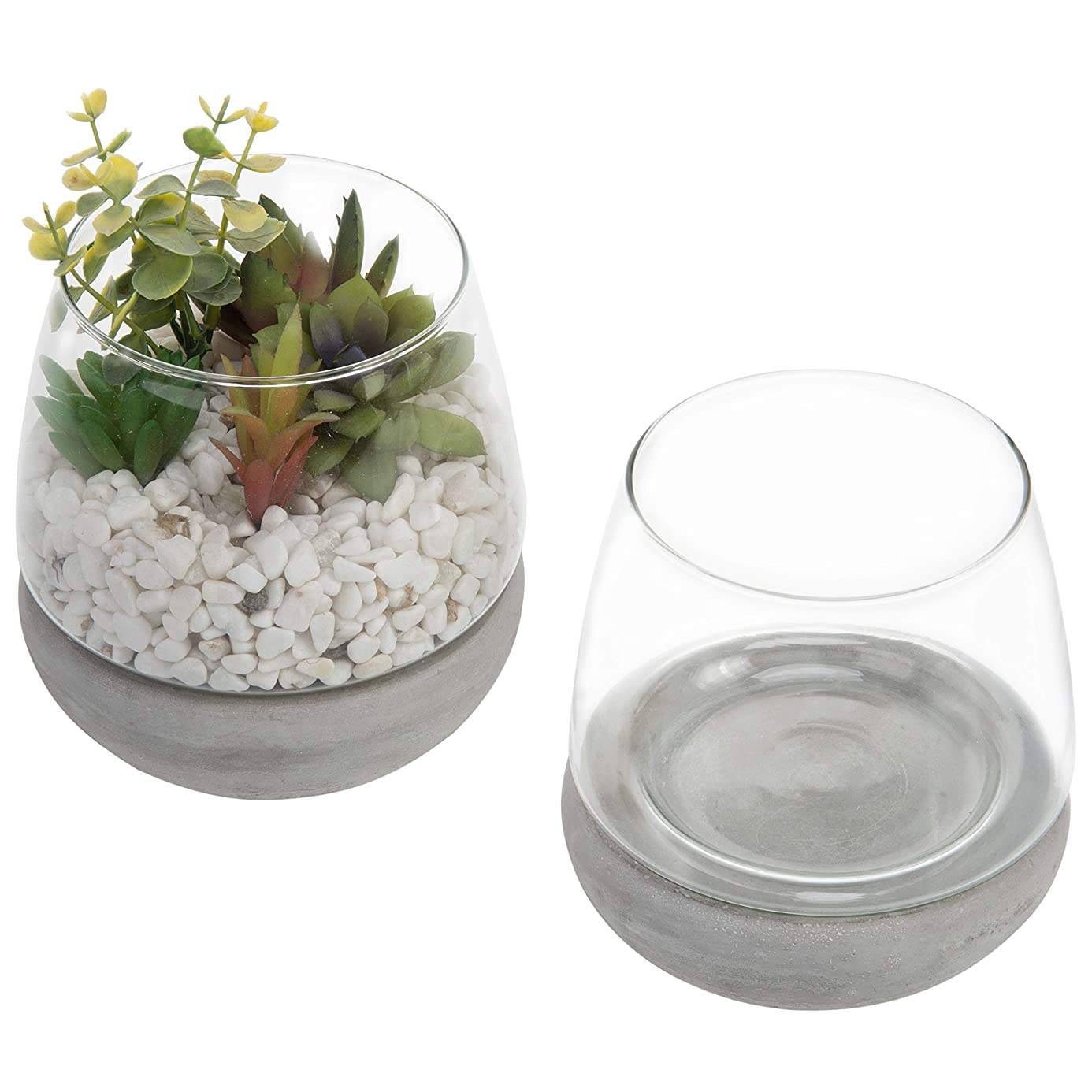 MyGift Modern Clear Glass 4-Inch Rounded Vases with Concrete Gray Base, Set of 2 ygv9123446
