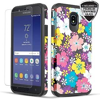 TownShop Galaxy J7 2018/ J7 Crown/J7 Star Case, Shockproof Hybrid Case with [Tempered Glass Screen Protector] for Samsung Galaxy J7 2018/J7 Crown/J7 Star/J7 Refine/J7 V 2nd Gen - Rainbow Flowers