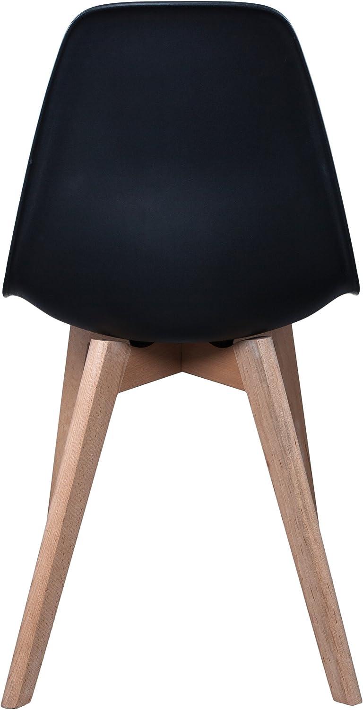 THE HOME DECO FACTORY HD3074/VP Lot de 2 Chaises Scandinave Bois/Plastique Blanc 46,20 x 52 x 86,40 cm Noir
