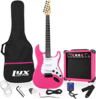 """Best LyxPro 39"""" inch Full Size Electric Guitar with 20w Amp, Package Includes All Accessories, Digital Tuner, Strings, Picks, Tremolo Bar, Shoulder Strap, and Case Bag Complete Beginner Starter kit - Pink Review"""