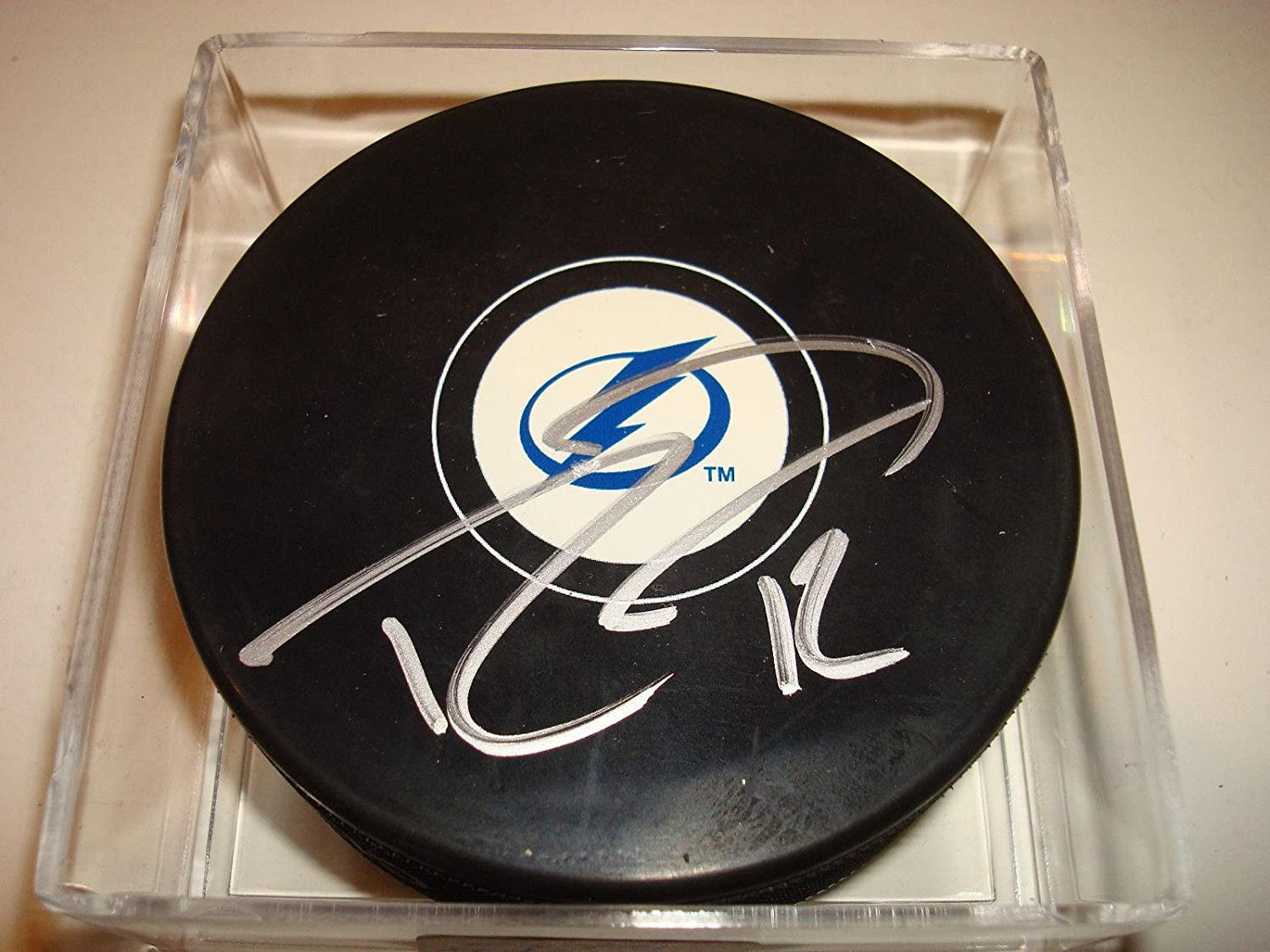 Autographed Ryan Malone Hockey Puck  Lightings  2  Autographed NHL Pucks
