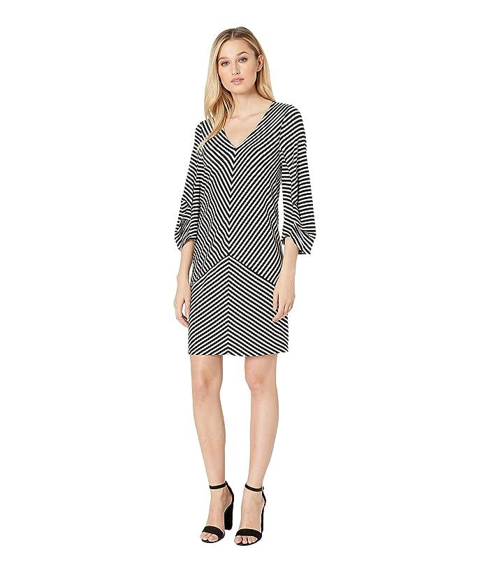 Kenneth Cole New York Striped Draped Back Dress (Downtown Stripe Sky Grey) Women