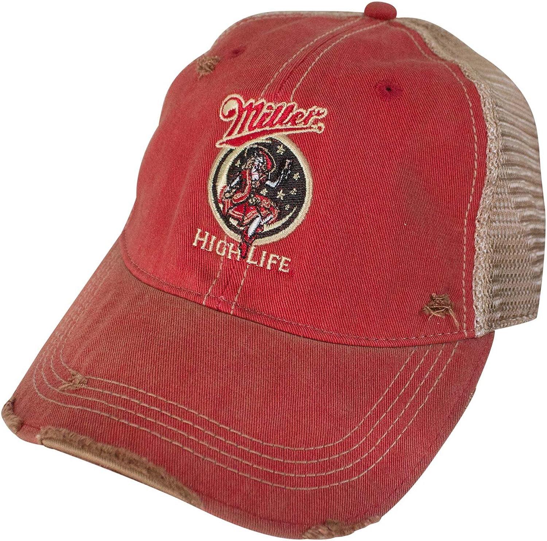 Miller High Life Girl in The Moon Retro Brand Men's Trucker Hat Orange