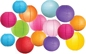 "Large Assortment of 15 Pcs Colorful Paper Lanterns (Multi-Color, Size of 8"",10"" 12"