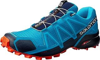 Salomon Speedcross 4 - Men's Men's Trail Running Shoes, Fjord Blue/Navy Blazer/Cherry Tomato