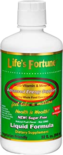 Life's Fortune Multivitamin & Mineral (Liquid 32 Fl. oz.) All Natural Energy Source-Supplying Whole Food Concentrates,...