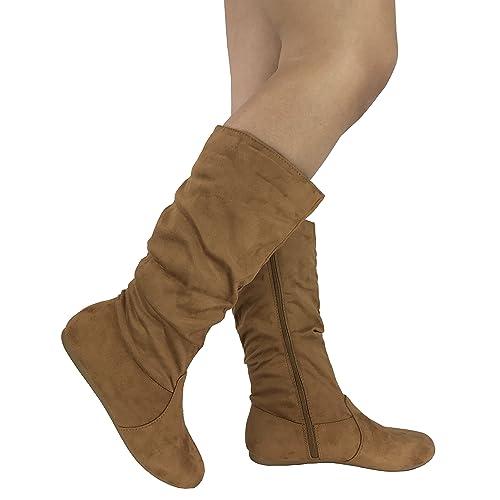 a3003d1b8209 Wells Collection Womens   Girls Slouchy Wonda Boots Soft Flat to Low Heel  Under Knee High