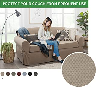 MAYTEX Pixel Ultra Soft Stretch Sofa Slipcover, Sand