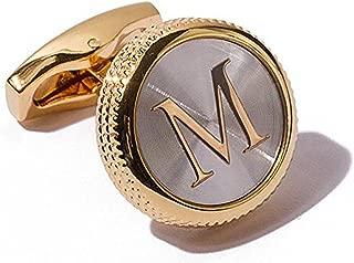Men's 2PCS Fashion Dazzle Tuxedo Shirts Platinum Plated Cufflinks Initial Letter 2 Color A-Z