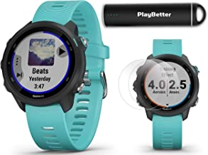 Garmin Forerunner 245 Music (Aqua) Running GPS Watch Power Bundle   +HD Screen Protectors & PlayBetter Portable Charger   Music & Spotify, Advanced Analytics, Heart Rate, PulseOx 2019 010-02120-22