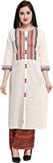 Raisin Women's Comfortable Cream Embroidered Handloom Cotton Below Knee Length Straight Casual Kurti With Palazzo With Round Neck and 3/4 Sleeve