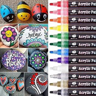WONSAR acrylstiften voor stenen, 12 kleuren, watervaste acrylstiften voor het schilderen van stenen, permanente markeersti...