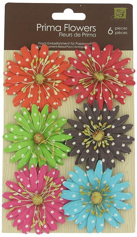 Prima 201425 Polka Dots Paper Flower Embellishments 7, 2-Inch