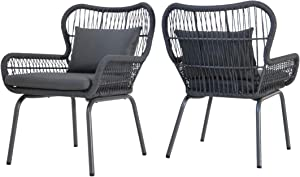 Great Deal Furniture Kimberley Outdoor Club Chairs, Steel and Rope, Cushioned, Boho, Brown