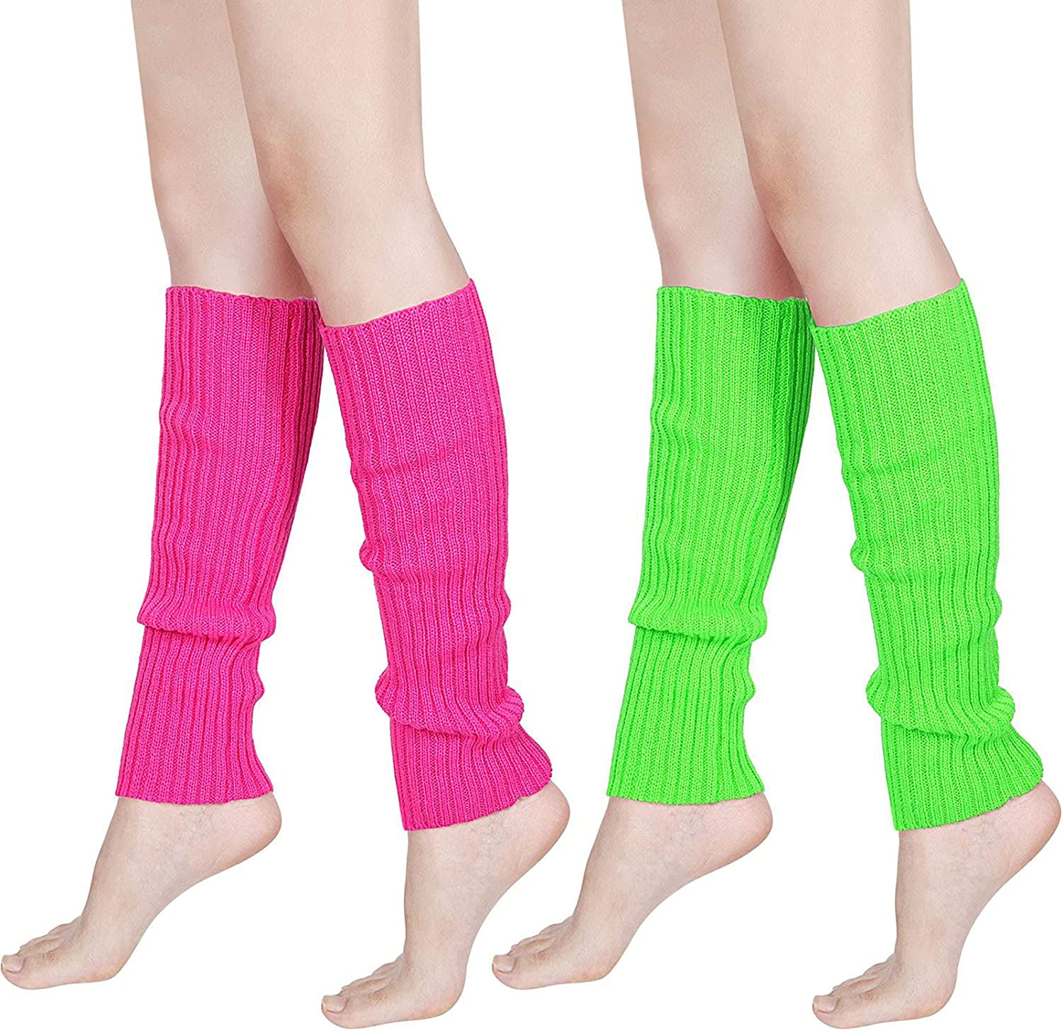 80s Women Neon Leg Warmers Knit Ribbed Leg Warmer for Party Accessories