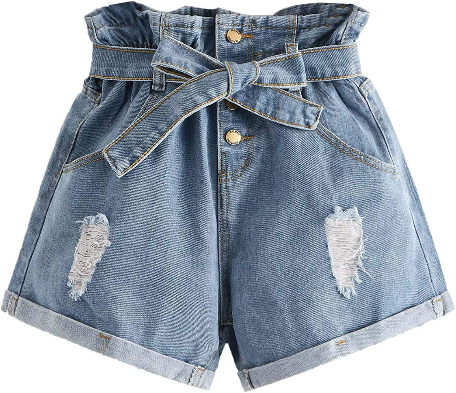 Milumia Women's High Waisted Belted Shorts Ripped Paperbag Denim Shorts
