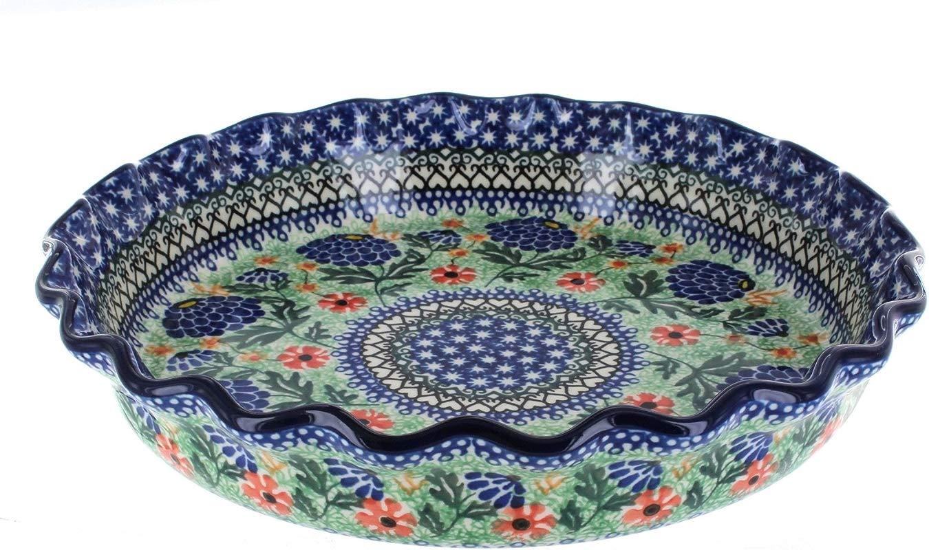 Blue Rose Polish Pottery Sofia Pie Plate