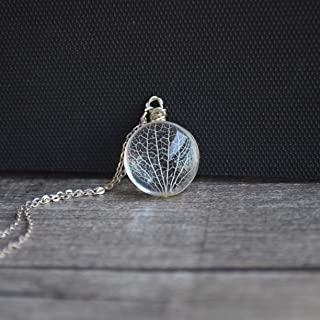 Kabbalah Tree of Life Leaf Vein Real Flowers Glass Pendant 925 Sterling Silver Necklace