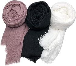 Axe Sickle Soft Cotton Hemp Scarf 3pcs, Wrap Shawl Outdoor Beach Towel Women All Seasons Wrap, Travel Sunscreen Stylish Hijab Scarf Lightweight Warm Big Head Scarves., Cotton, Black, White (3 Per Pack), 35.5 in x 70.9in black, white