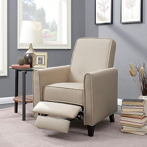 discount BELLEZE popular Modern Living Room Furniture online sale Design Recliner Club Linen Chair Accent, Beige online sale