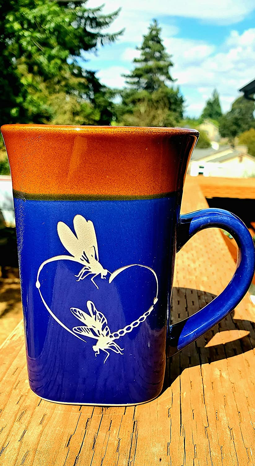 Dragonfly San Francisco Mall Excellent Heart Blue Coffee Mug cup Deep Carved Tea H