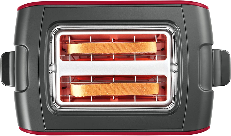 Bosch TAT6A913Grille-Pain compact Comfort Line, centrage du pain automatique, fonction décongélation, 1090W, acier inoxydable/noir Rouge