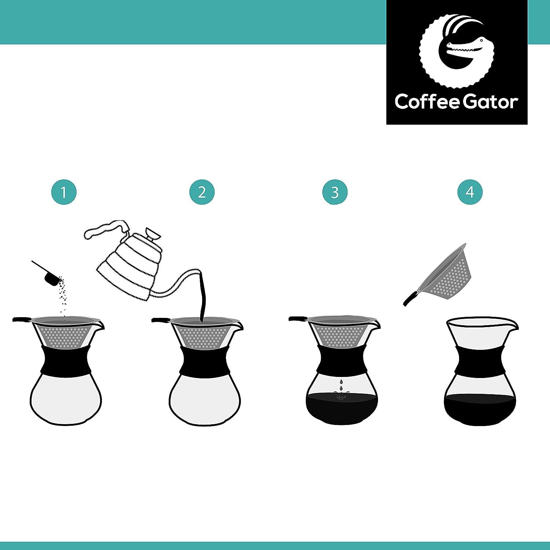 Cafetera de goteoPour Over manual con filtro de caf/é permanente de acero inoxidable y jarra. 300ml