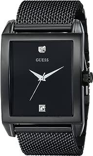 Mesh Black Ionic Plated Rectangular Genuine Diamond Watch. Color: Black (Model: U0298G1)